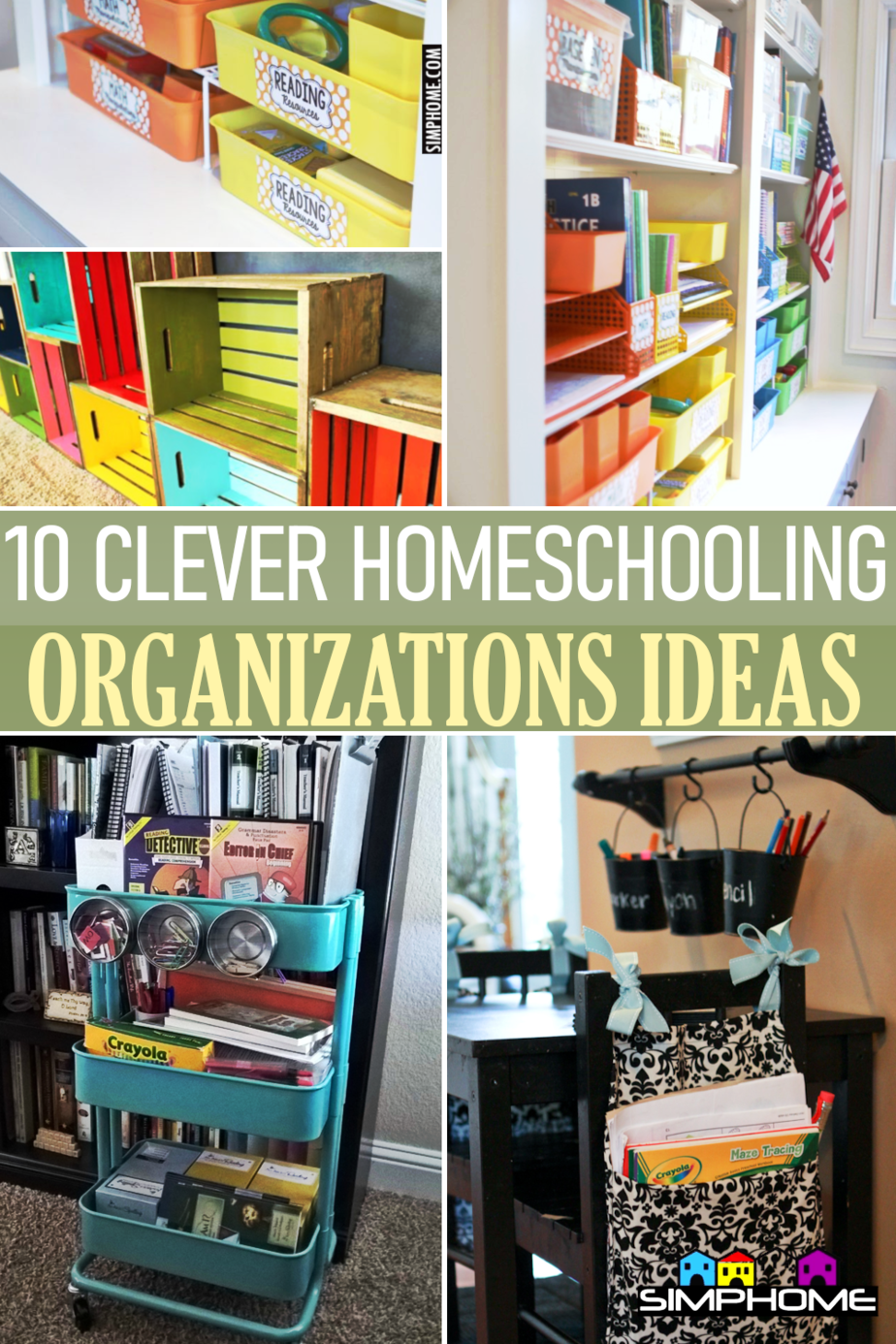 10 Clever Homeschooling Organization Ideas for Small Space via Simphome.comFeatured
