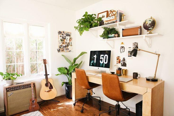 10. Make an Office Work with Wall Shelves by simphome.com