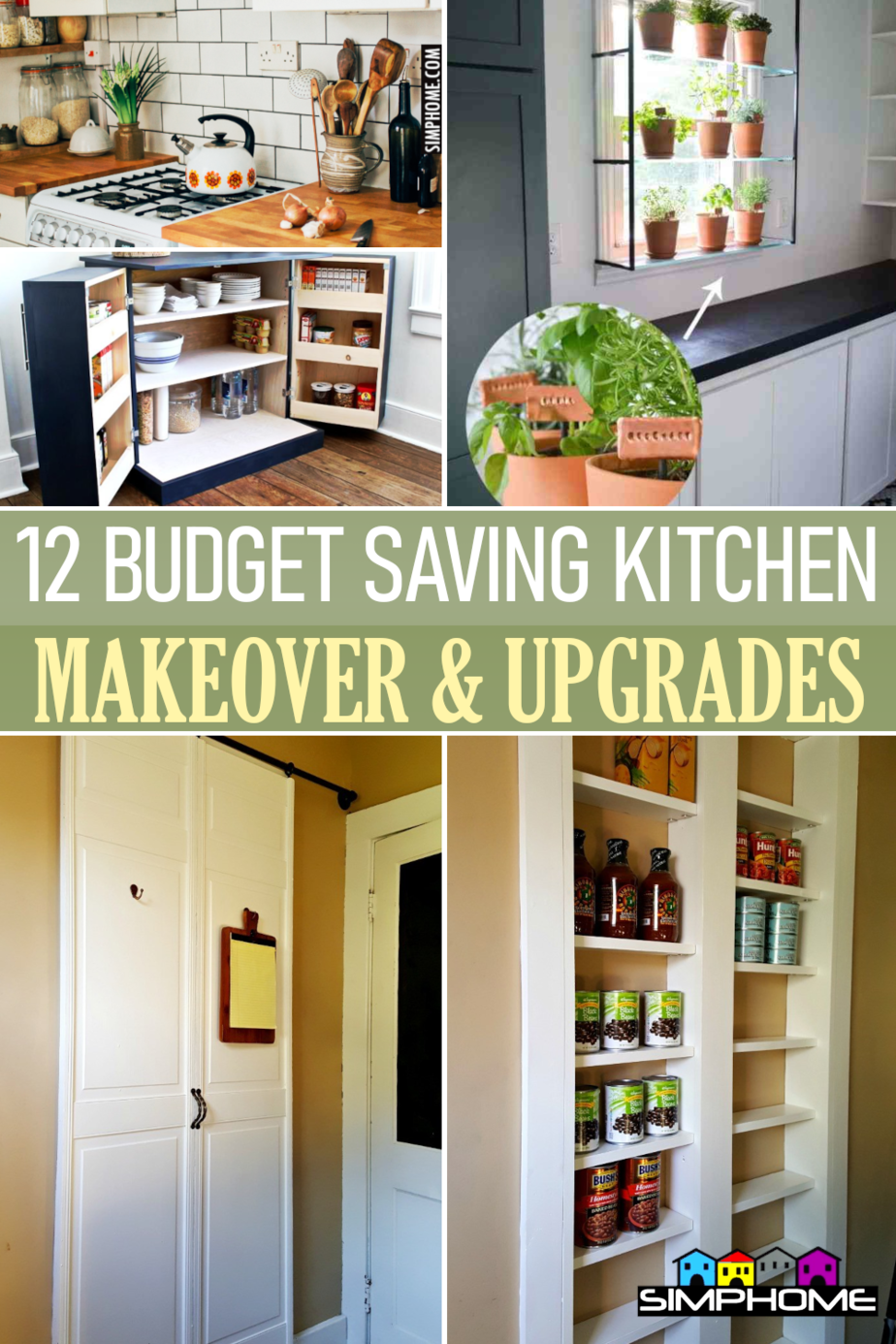 12 Budget Saving Kitchen Makeover Ideas via Simphome.comFeatured