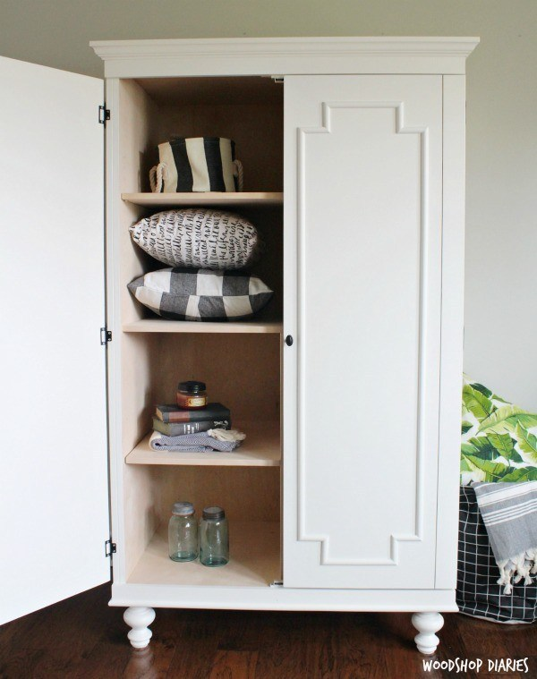 12. DIY Wardrobe Amoire Storage Cabinet With Shelves by simphome.com