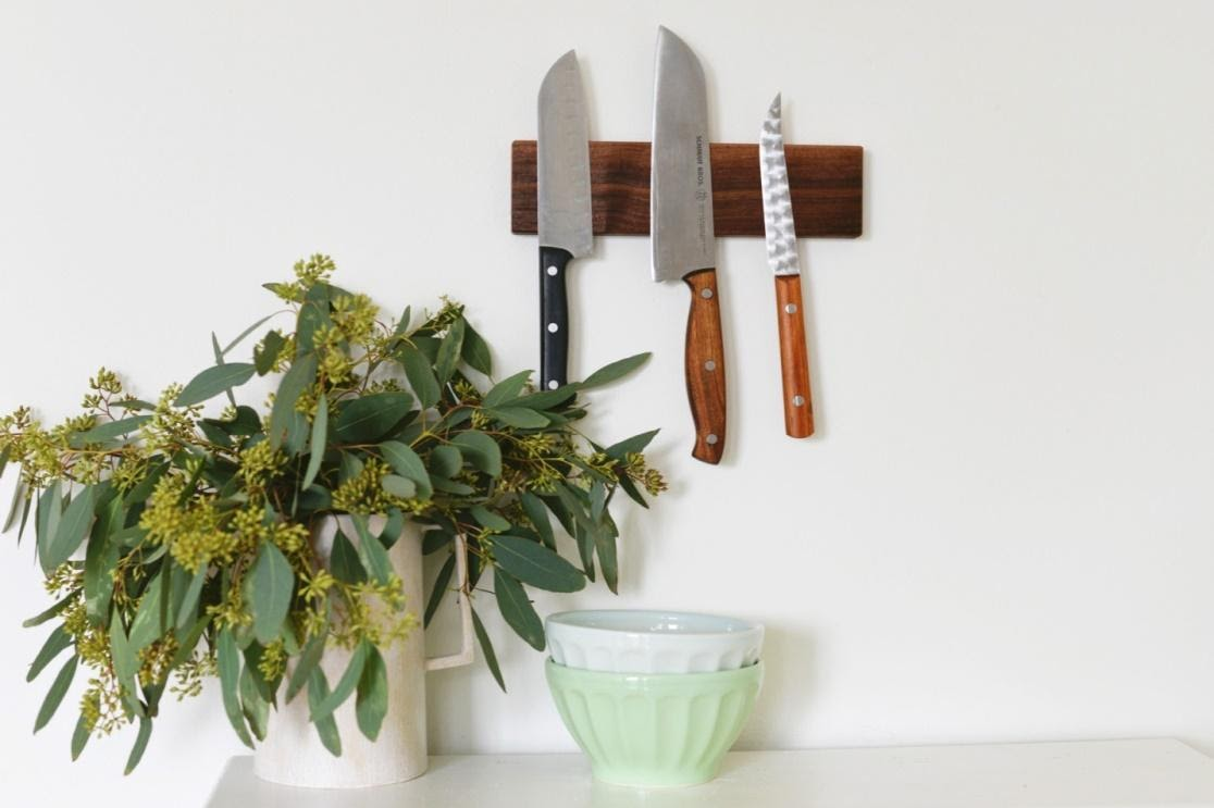 4. DIY Wooden Magnetic Knife Holder Idea by simphome.com