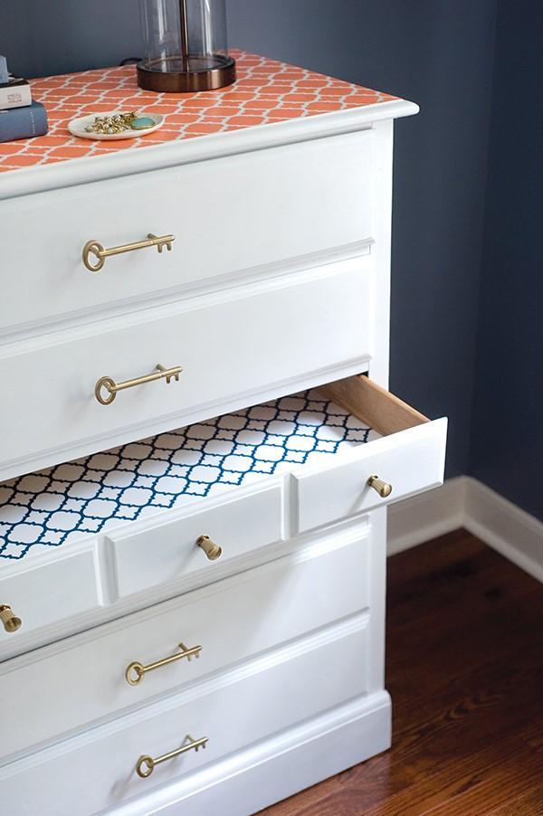 6. DIY Dresser Makeover With a Stenciled Top by simphome.com