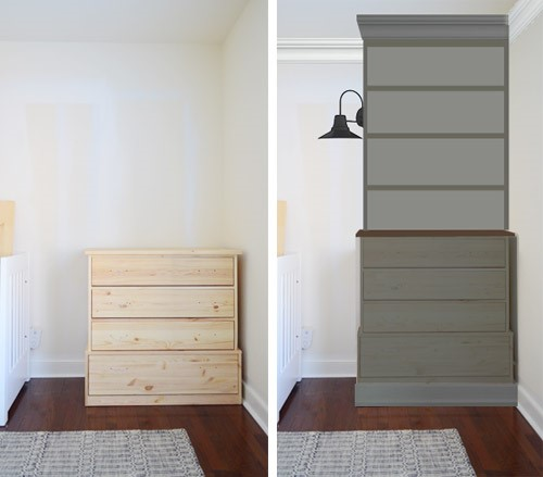 6. TURNING STORE BOUGHT DRESSERS INTO BEDROOM BUILT INS by simphome.com