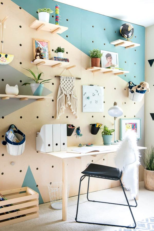 7. DIY Plywood Pegboard Wall by simphome.com