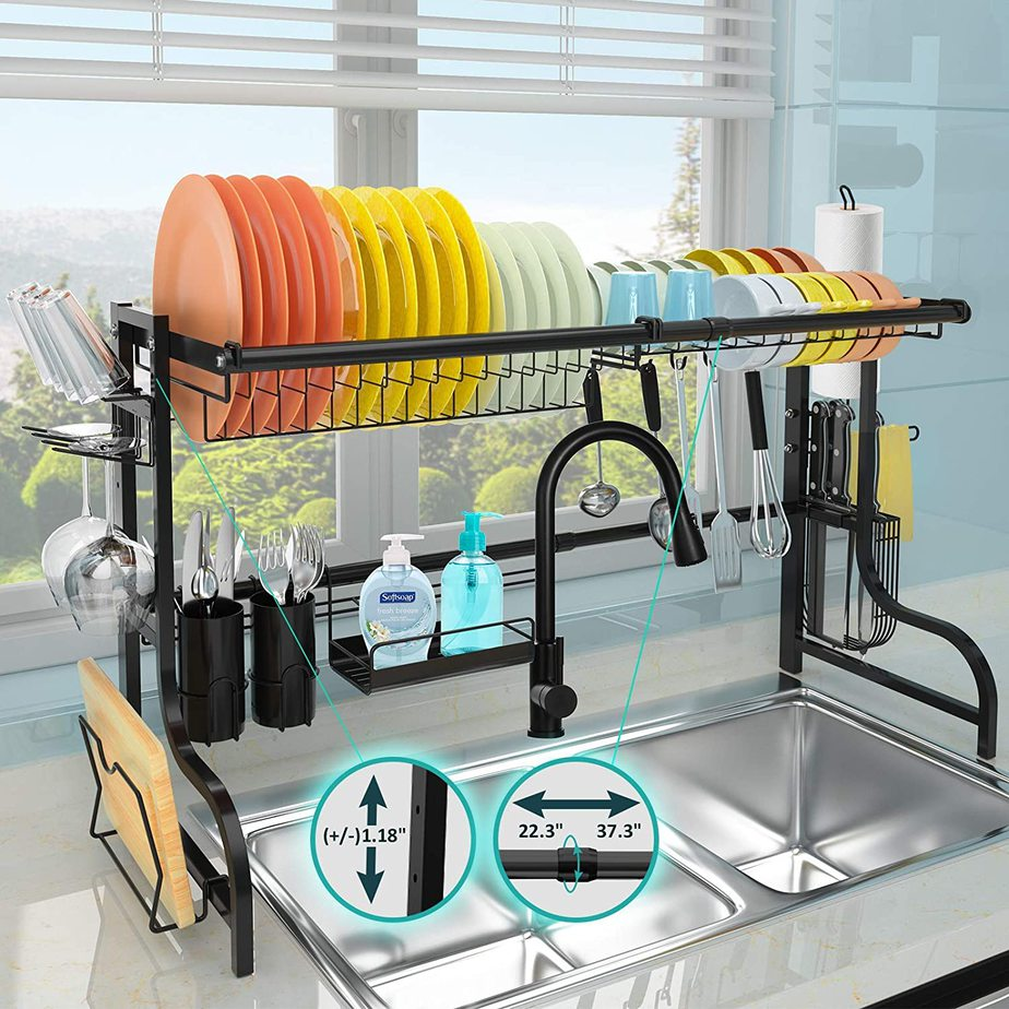 7. Or if that is too much hassle get this Adjustable Large Dish Rack Stainless Steel by simphome.com