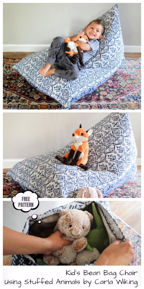 7. Toy Storage Bean Bag Chair Free Sewing Patterns Tutorials by simphome.com