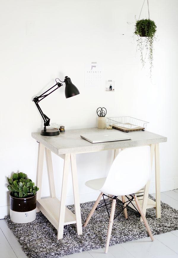 8. DIY Concrete Desktop with Wooden Legs by simphome.com