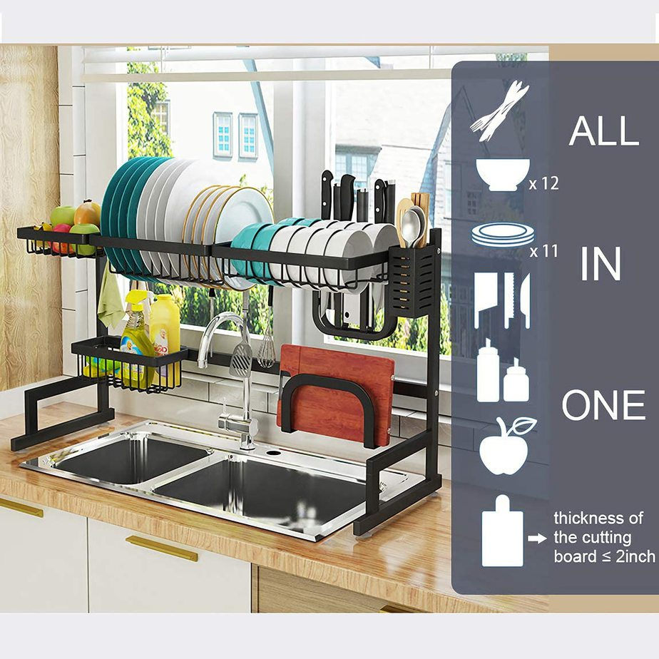 9. Optimize your sink functionality with this Over Sink32 Dish Drying Rack by simphome.com