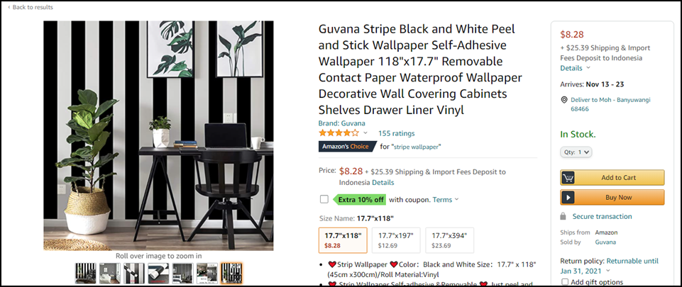 Guvana Stripe Black and White Peel and Stick Wallpaper Self Adhesive Wallpaper via Simphome.com