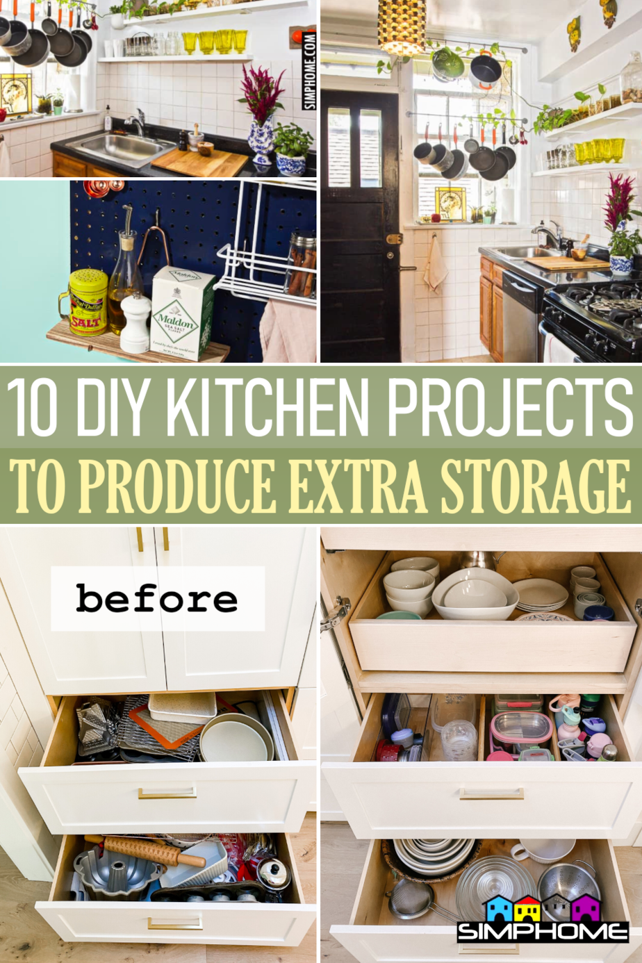 10 DIY Kitchen Projects To Produce Extra Storge via Simphome.comFeatured