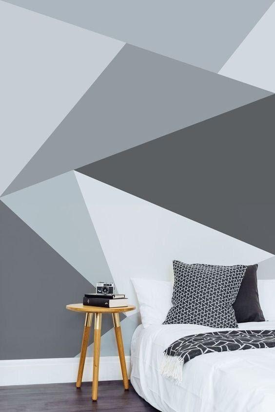 3. Geometric Mural Wall by simphome.com