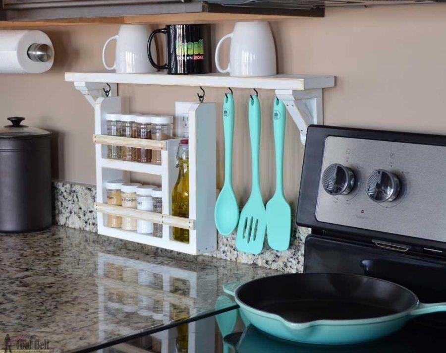 7. A Backsplash and Spice shelf by simphome.com