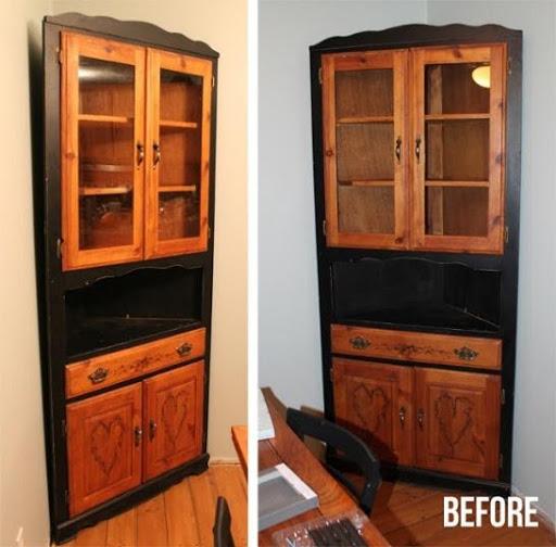 6. Corner Hutch Furniture Makeover by simphome.com