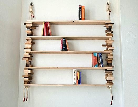 8. Rope and Stacked Block Shelves by simphome.com