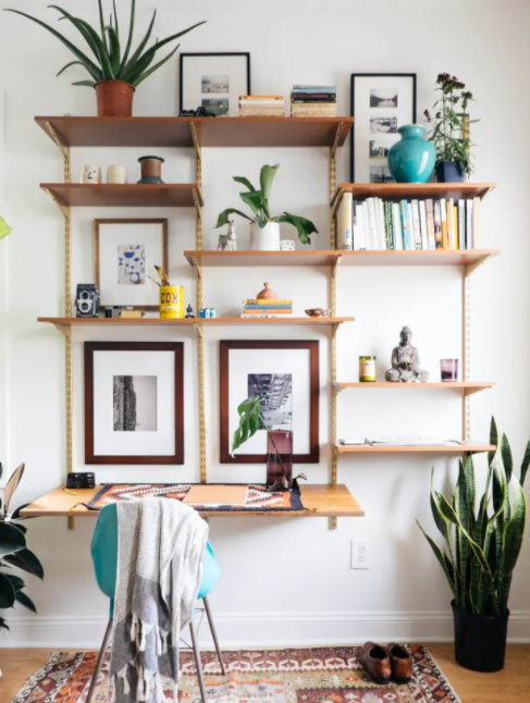 1. Open Shelves and Desk Combo by simphome.com
