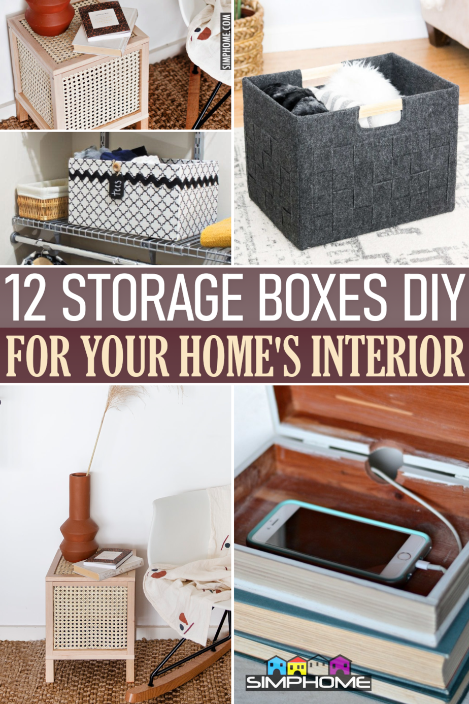 12 Storage Boxes ideas for bedroom kitchen and living room via Simphome.comFeatured