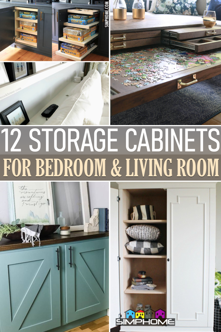 12 storage cabinet DIY for small bedroom and living room via Simphome.comFeatured