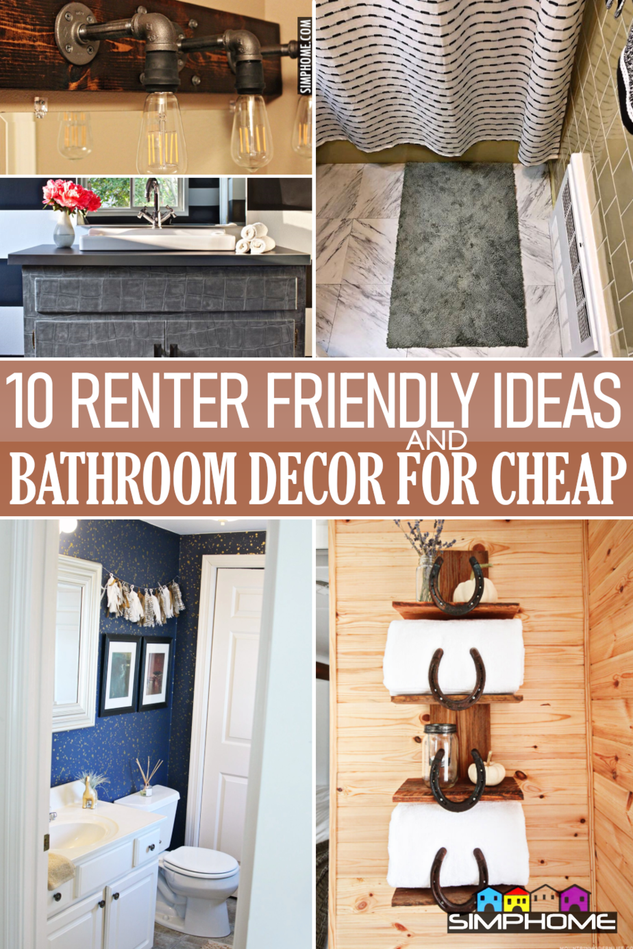 10 Renter Friendly Bathroom Decor Ideas via Simphome.com .FEATURED