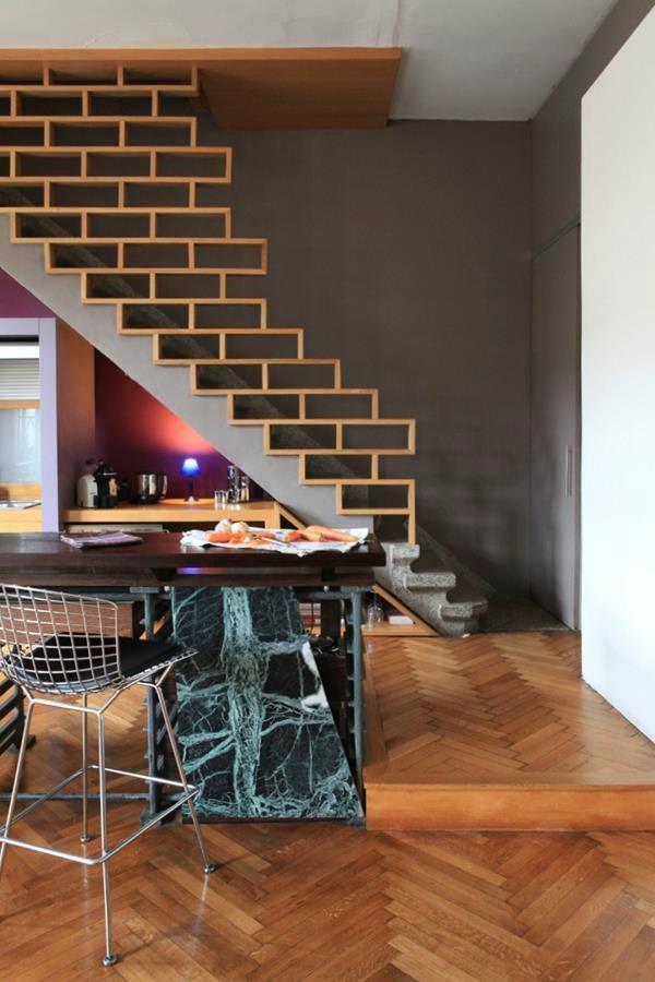 3. Brick like Stair Railing by simphome.com