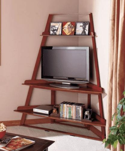 6. Corner Media Console with Shelves by simphome.com