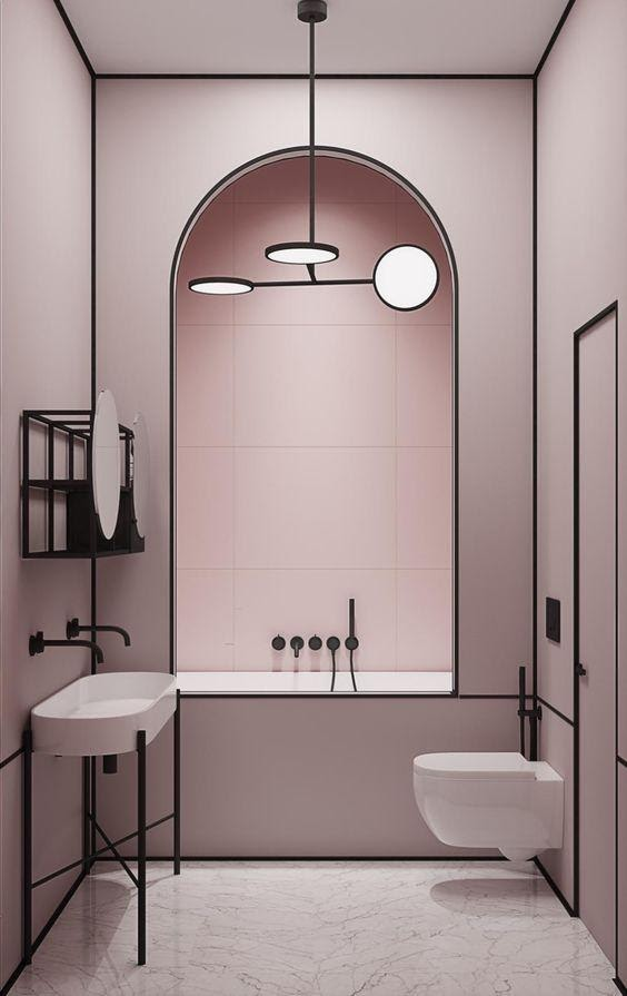 1. modern ideas for an on – trend pink bathroom scheme by simphome.com .