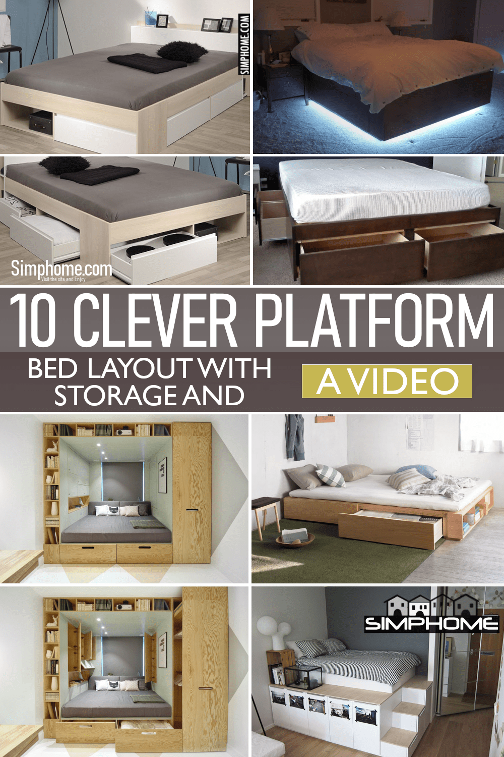 10 Clever Platform Bed Ideas with Storage via Simphome.comFeatured