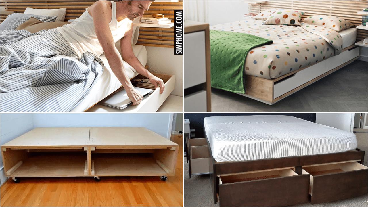 10 Clever Platform Bed Ideas with Storage via Simphome.comYT