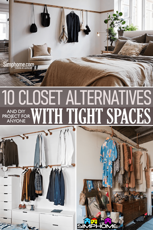 10 Closet Alternative Ideas for tight spaces via Simphome.comFeatured 1