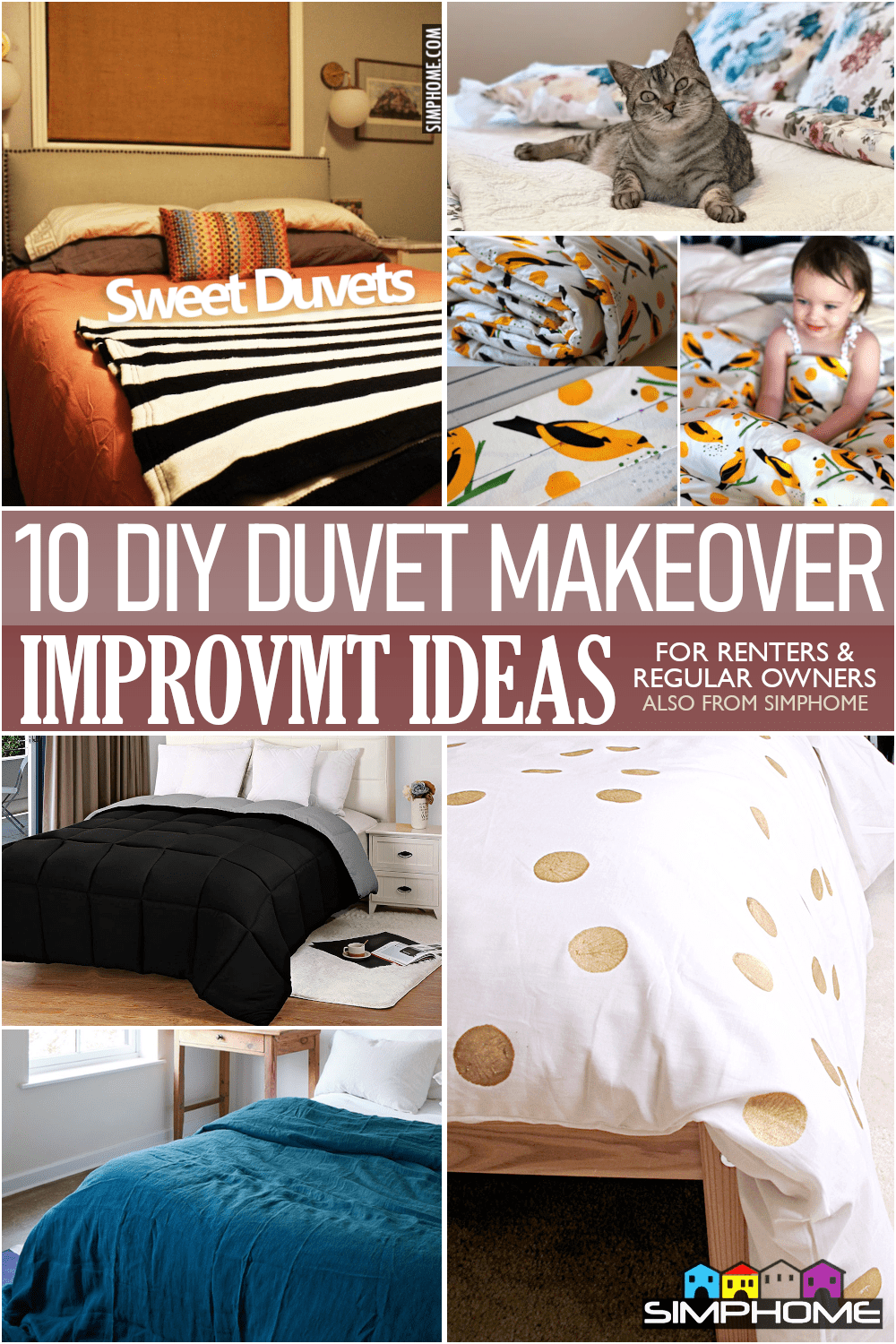 10 DIY Duvet Makeover with Sew and no Sews via Simphome.comFeatured