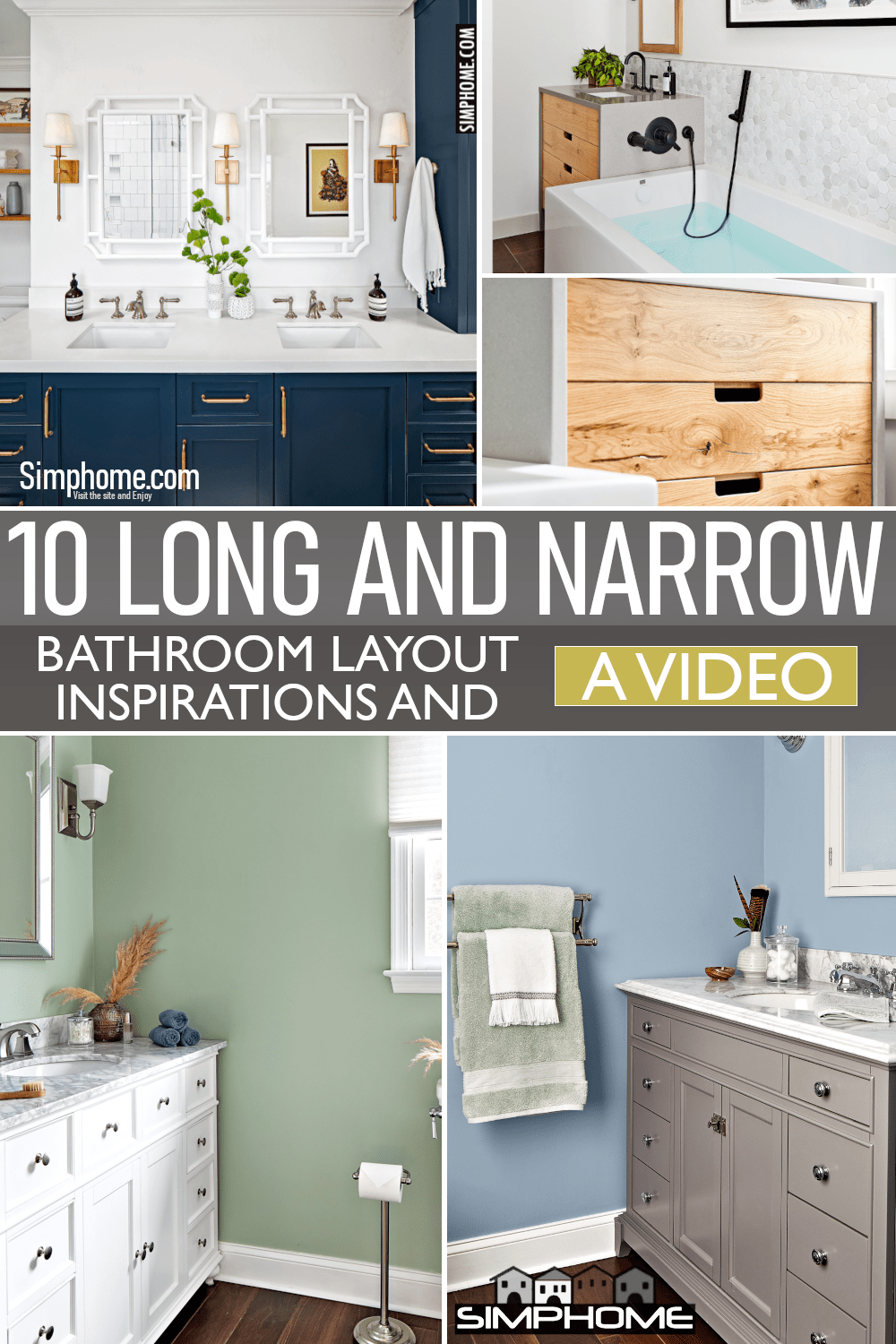 10 Long and Narrow Bathroom Layout Ideas via Simphome.comFeatured