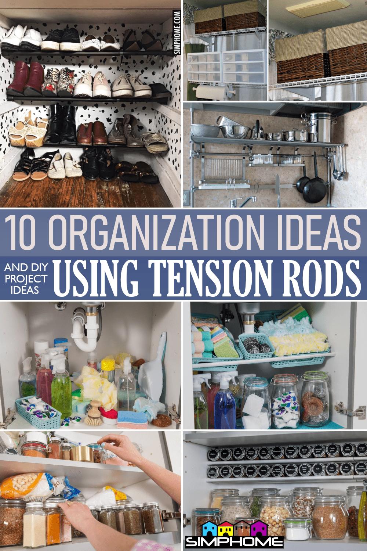 10 Organization Ideas DIY Using Tension Rods via Simphome.comFeatured
