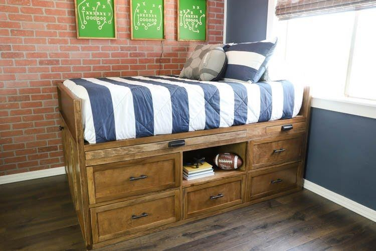 12. DIY Full Size Captains Bed by simphome.com