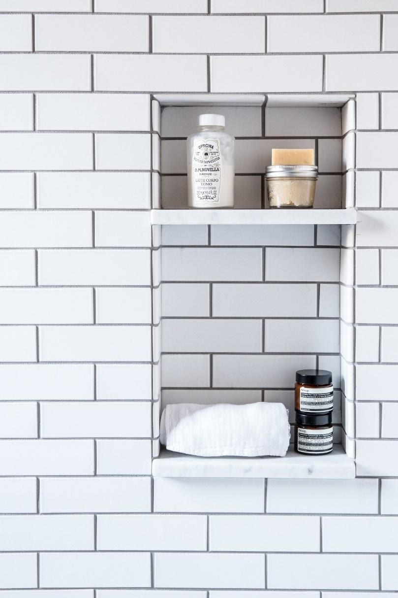 4. Built In Shelves in the Shower by simphome.com