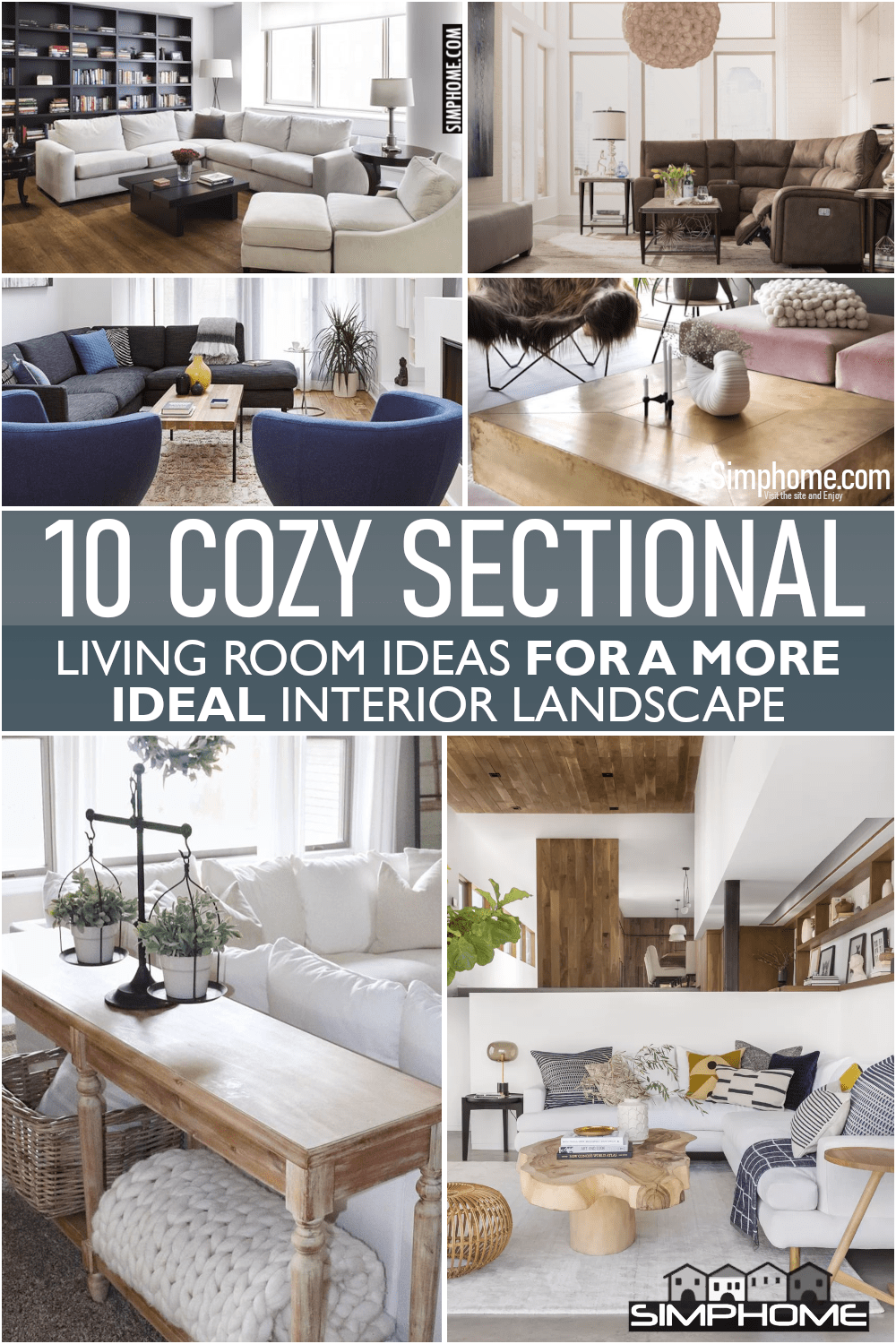 10 Cozy Sectional Living Room Ideas via Simphome.comFeatured
