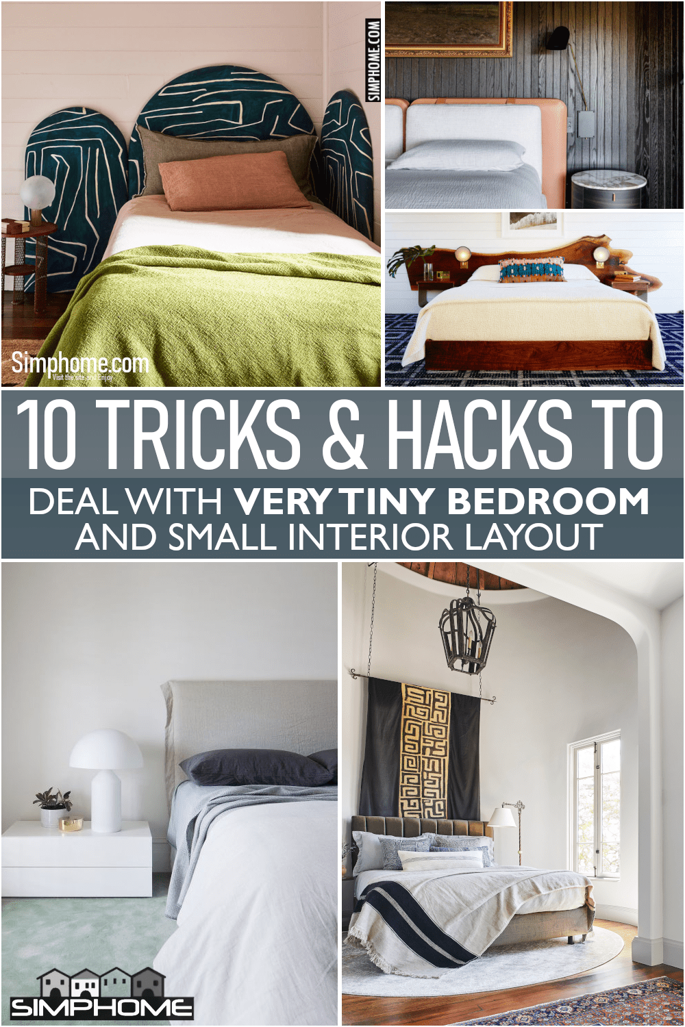 10 Tiny Bedrooms Bed Ideas via Simphome.comFeatured 1
