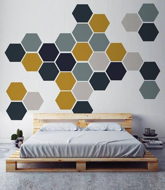 10. Honeycomb Style Wall Paint by simphome.com