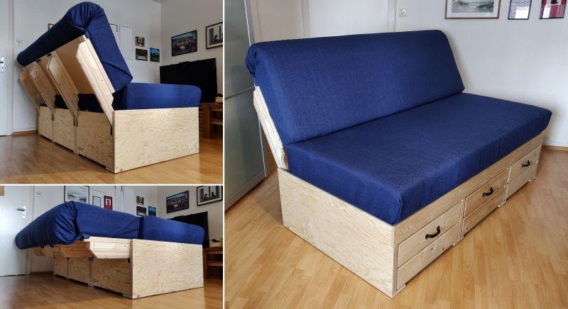 6. How to build A Convertible Sofa Bed with Storage by simphome.com