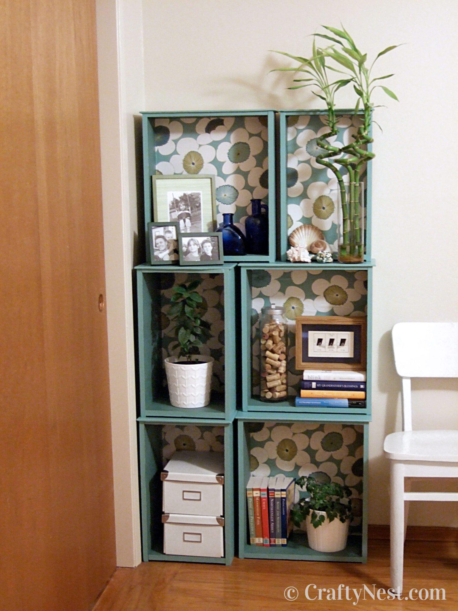6. Wallpaper your bookcase via Simphome.com .jpg