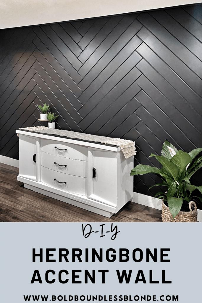 8. Herringbone Accent Wall by simphome.com