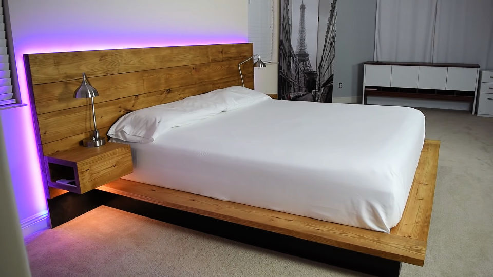 DIY Platform Bed With Floating Night Stands Simphome.com .jpg